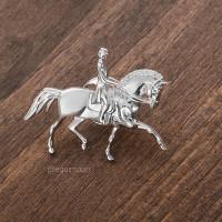 Пин Выездка-Рысь со Swarovski серебро EQUIMOON